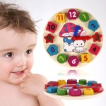 Wooden Number Clock Toy Baby Colorful Puzzle Digital Geometry Clock Educational Toy Baby Kid Education Toy, Random Pointer Deliv