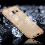 For Samsung Galaxy A7 (2017) Diamond Encrusted Transparent Soft TPU Protective Back Cover Case (Gold)
