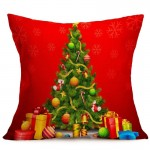 Christmas Festival Pattern Car Sofa Pillowcase with Decorative Head Restraints Home Sofa Pillowcase, D, Size:43*43cm