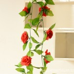 Simulation of Rattan Flowers Artificial Flowers Fake Simulation Champagne Rose Ivy Vine Hangings Garlands for Home Wedding Decor