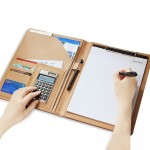 Office Supplies Business Style Leather Document Folder with 30-pages A4 Note Pad & Calculator(Brown)