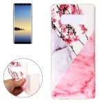 For Samsung Galaxy Note 8 Cherry Pink White Marble Pattern TPU Shockproof Protective Back Cover Case