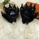 One Pair Christmas Gift Cute Cartoon Dinosaur Claw Winter Warm Gloves(Black)