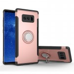 For Samsung Galaxy Note 8 PC+TPU Magnetic Protective Back Cover Case with 360 Degree Rotation Ring Holder(Rose Gold)