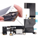 iPartsBuy Original Version Tail Connector Charger Flex Cable + Headphone Audio Jack Ribbon Flex Cable for iPhone 5S(White)