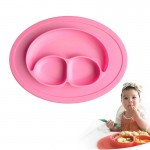 Smile Style One-piece Round Silicone Suction Placemat for Children, Built-in Plate and Bowl (Pink)