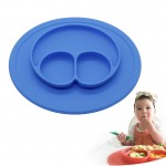 Smile Style One-piece Round Silicone Suction Placemat for Children, Built-in Plate and Bowl (Blue)