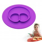 Smile Style One-piece Round Silicone Suction Placemat for Children, Built-in Plate and Bowl (Purple)