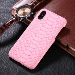 For iPhone X Snake Skin Texture Paste Protective Back Cover Case(Pink)