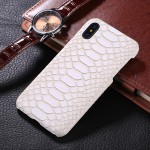 For iPhone X Snake Skin Texture Paste Protective Back Cover Case(White)