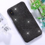 For iPhone X Glitter Powder Paste Protective Back Cover Case (Black)