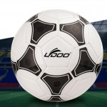 19cm PU Leather Sewing Wearable Match Football (Black + White)
