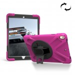 For iPad Pro 10.5 inch 360 Degree Rotation PC + Silicone Protective Case with Holder & Hand-strap (Magenta)