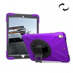 For iPad Pro 10.5 inch 360 Degree Rotation PC + Silicone Protective Case with Holder & Hand-strap (Purple)