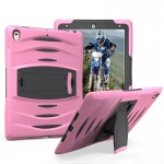 For iPad Pro 10.5 inch Wave Texture Series PC + Silicone Protective Case with Holder (Pink)