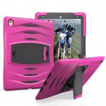 For iPad Pro 10.5 inch Wave Texture Series PC + Silicone Protective Case with Holder (Magenta)