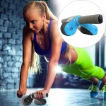 Folding Abdominal Roller Round Home Office Mute Fitness Equipment Sports for Man / Woman (Blue)