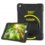 For iPad 9.7 inch (2017) 360 Degree Rotation PC + Silicone Protective Case with Holder & Hand-strap (Black)