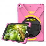 For iPad 9.7 inch (2017) 360 Degree Rotation PC + Silicone Protective Case with Holder & Hand-strap (Pink)