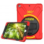 For iPad 9.7 inch (2017) 360 Degree Rotation PC + Silicone Protective Case with Holder & Hand-strap (Red)