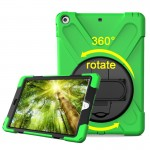 For iPad 9.7 inch (2017) 360 Degree Rotation PC + Silicone Protective Case with Holder & Hand-strap (Light Green)