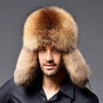 Winter New Style Fox Hair LeiFeng Men Hats, Thick Warm Middle and Old People Ear Protection Winter Fur Hat(Khaki)