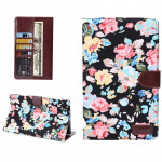 Flowers Pattern Horizontal Flip Leather Case with Card Slot & Wallet & Holder for Samsung Galaxy Tab S 8.4 / T700(Black)
