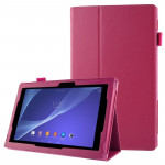 Litchi Texture Leather Case with Holder for Sony Xperia Tablet Z2 10.1(Magenta)