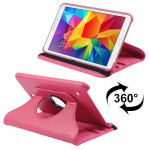 360 Degree Rotatable Litchi Texture Leather Case with 2-angle Viewing Holder for Samsung Galaxy Tab 4 8.0 / SM-T330(Magenta)