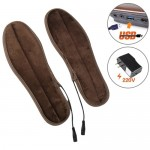 USB Electric Powered Heated Insoles Keep Feet Warm Pad with USB Cable & Power Adapter, Size: 43-44 yard (Brown)