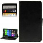Crazy Horse Texture Flip Leather Case with Credit Card Slots & Holder for Nokia X (Black)