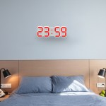 Multi-Function Large 3D LED Digital Wall Alarm Clock with Snooze Function, 12/24 Hours Display for Home, Kitchen, Office, DC 5V(