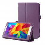Litchi Texture Flip Leather Case with Holder for Samsung Galaxy Tab 4 8.0 / T330 (Purple)