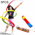 5 PCS 4m Colorful Children Toy Dancing Practices Dance Ribbons with Sticks, Random Pattern Delivery