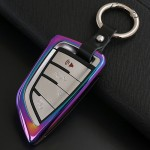 Car Auto Round Buckle Key Shell Colorful Ring Zinc Alloy Car Chain Shell Car Key Shell Case for BMW, Random Color Delivery