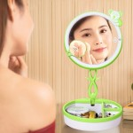 Multi-function Cute Bear Touch Screen Human Body Sensor USB Charging LED Makeup Mirror Desk Lamp Atmosphere Light with Storage B