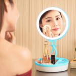 Multi-function Fashion Touch Switch USB Charging Colorful Makeup Mirror LED Desk Lamp Atmosphere Light with Storage Box, DC 5V(B