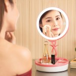 Multi-function Fashion Touch Switch USB Charging Colorful Makeup Mirror LED Desk Lamp Atmosphere Light with Storage Box, DC 5V(P