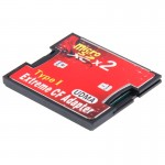 Adaptateur de carte mémoire Compact Flash 2-Socket Micro SD vers CF - Wewoo