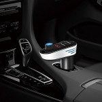 AP02 Car Bluetooth V4.2 MP3 Player FM Transmitter 5V 3.1A Output Dual USB Ports Car Charger with LED Light, Built-in Mic, Suppor
