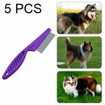 5 PCS Pet Cats Dogs Supplies Combs Fine Toothed Stainless Steel Needle Fleas Removal Combs, Length: 14cm (Purple)