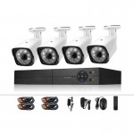 A4B3 / Kit 4CH 1080N Surveillance DVR System and 720P 1.0MP HD Weatherproof CCTV Bullet Camera, Support Infrared Night Vision &
