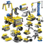 KAZI 16 in 1 Sets DIY Construction Engineering Vehicles Excavator Model Building Blocks Compatible City Construction Bricks Toys