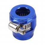 AN8 Car Performance Aluminum Accessories Adapter Nitrite Hose Finisher Adapter Nylon Braided Hose Clamp Blue Finish