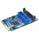 Pour PC de bureau MINI bleu PCI-E vers USB 3.0 avant 19 broches Carte d'extension - Wewoo