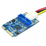 MINI PCI-E to USB 3.0 Front 19 Pin Desktop PC Expansion Card with 4 Pin Power Connection Port (Blue)