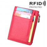 Cowhide Leather Solid Color Zipper Card Holder Wallet RFID Blocking Coin Purse Card Bag Protect Case, Size: 11*8*1.5cm (Magenta)