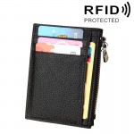 Porte Carte Protection sans contact ANTI RFID noir Cuir de vache Solide Couleur Zipper Porte-cartes Portefeuille RFID Blocage...