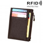 Cowhide Leather Solid Color Zipper Card Holder Wallet RFID Blocking Coin Purse Card Bag Protect Case, Size: 11*8*1.5cm (Coffee)