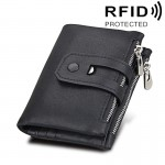 Genuine Cowhide Leather Crazy Horse Texture Zipper 3-folding Card Holder Wallet RFID Blocking Coin Purse Card Bag Protect Case f